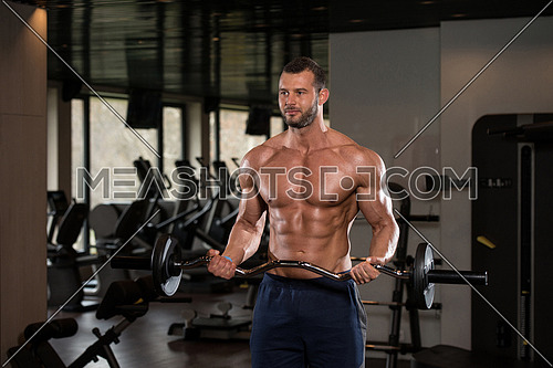 Muscular Man Doing Heavy Weight Exercise For Biceps With Barbell In Modern Gym
