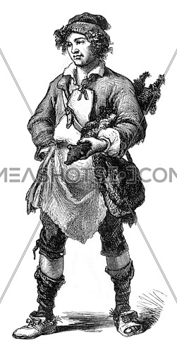 The Merchant of rabbit skins, 1774, vintage engraved illustration. Magasin Pittoresque 1869.