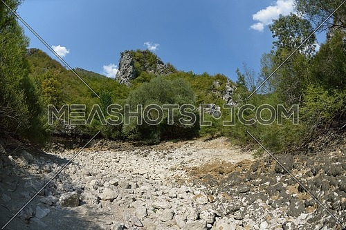 wild river dried riverbed on summer day climate change  signals