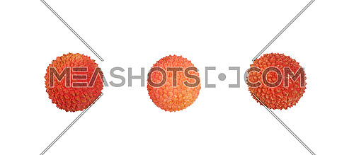 Three fresh red ripe lychee (Litchi chinensis) tropical fruits isolated on white background, detail close up, elevated, top view, directly above