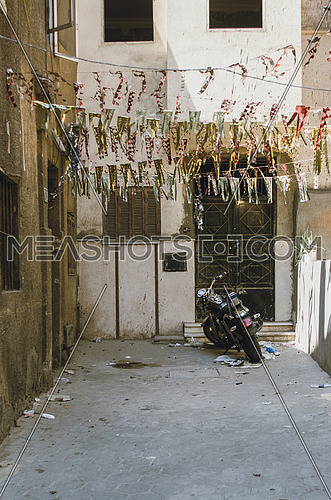 Motorcycle parked in an empty street in cairo