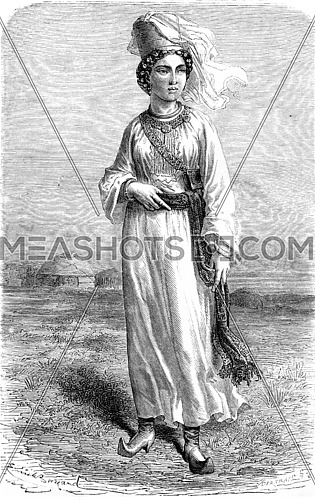 Turkmen girl. vintage engraved illustration. Le Tour du Monde, Travel Journal, (1865).