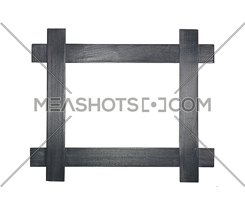 Simple minimalistic modern wooden frame for picture or photo made of crossed gray painted wood planks, isolated on white background, close up