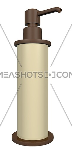 Bronze and cream colored lotion or soap dispenser with a pump, isolated against a white background. 3D illustration