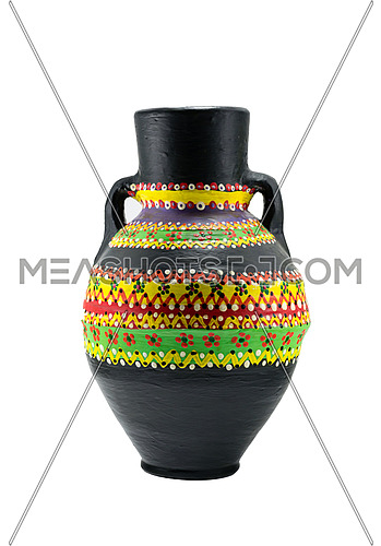 Egyptian black artistic painted pottery vessel (arabic: Kolla),  made of clay, one of the oldest habits of the Ancient Egyptians