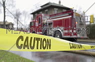 Fire engine and caution sign