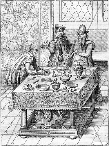 Doctors of the king, vintage engraved illustration. Magasin Pittoresque 1882.