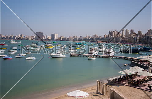 Fixed shot for boats moored to the shore in Greek Club in Alexandria at day
