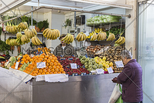 Cadiz Spain- April 1: Traditional market of fruits and vegetables from Cádiz, situated in the Centre of the city, consumers buy daily vegetables and fresh fish, taken in Cadiz, Spain