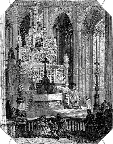 Altar of Our Lady of Halle, vintage engraved illustration. Magasin Pittoresque 1853.