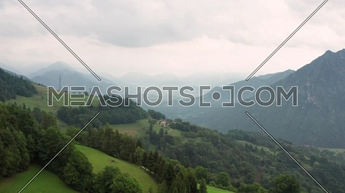 Aerial view of the Seriana valley andthe Alps mountain. Gorno town, Bergamo.