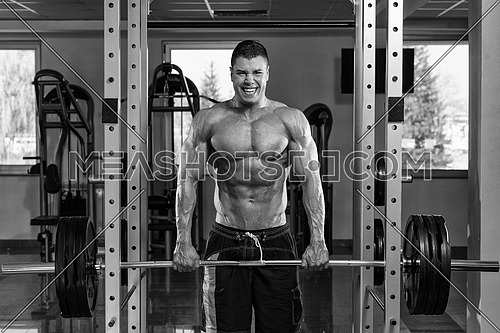 Young Bodybuilder Is Working On His Trapezius With Barbell In A Gym