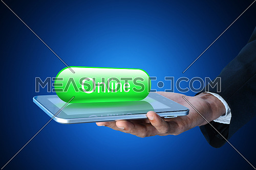 Business man with online button in color background