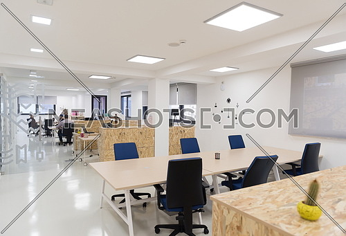empty  startup business  office interior with modern computers and furniture