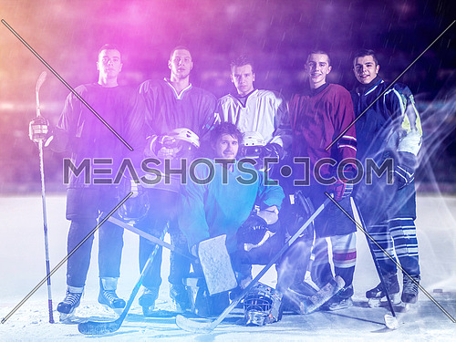 ice hockey players team group portrait in sport arena indoors