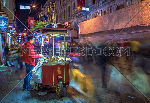 Istiklal street at night in Istanbul, Turkey