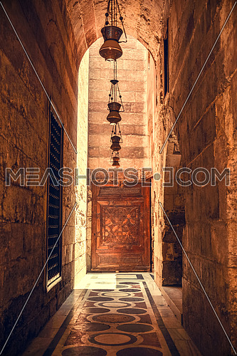 Pass out of the mosque Moez in cairo at day