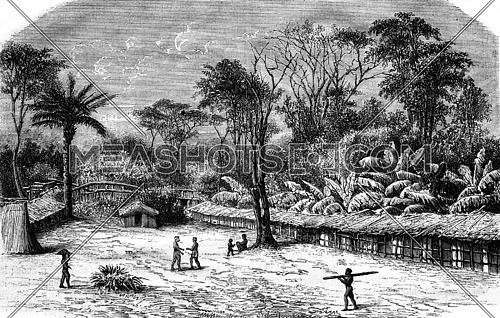A village in Gabon, vintage engraved illustration. Magasin Pittoresque 1876.