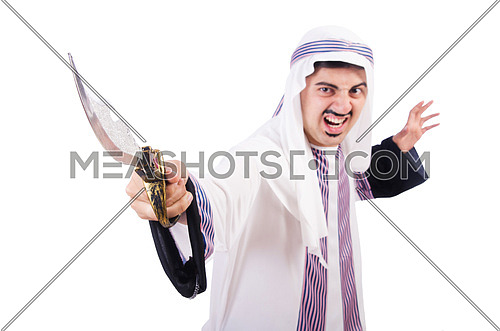 Arab man with knife isolated on white