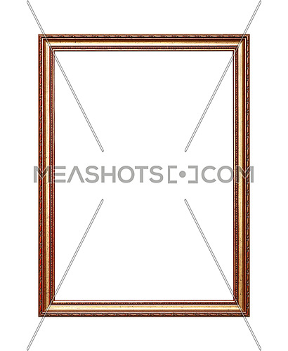 Antique old baroque ornate wooden classic golden painted vertical rectangular frame for picture, photo or mirror, isolated on white background, close up