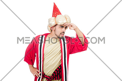 Wizard in costume isolated on the white