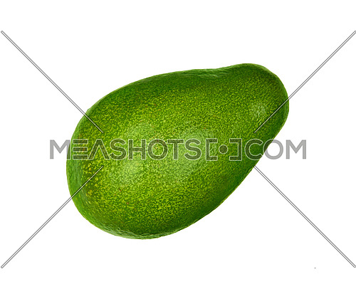 Close up one fresh green ripe whole avocado (Persea gratissima) isolated on white, elevated top view, directly above