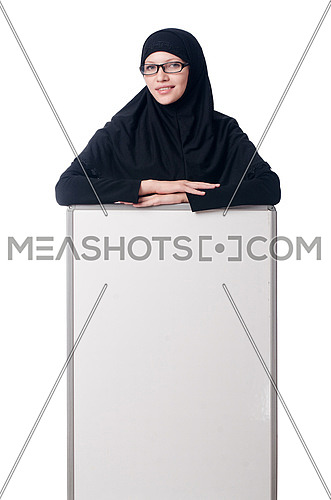 Muslim woman with blank board on white