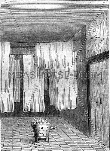 Room for bleaching wool fabrics and silk, vintage engraved illustration. Magasin Pittoresque 1857.