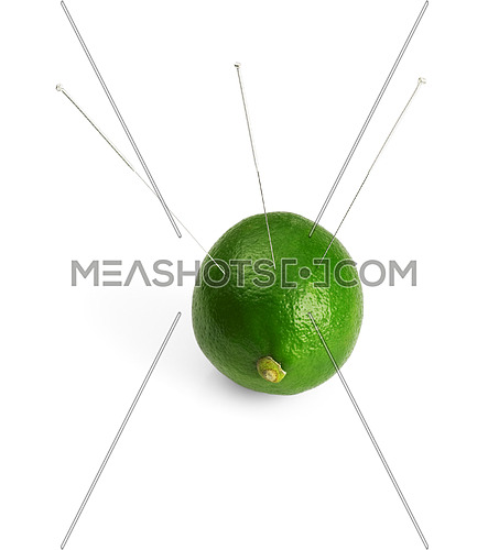 lime with acupuncture needles isolated on white background