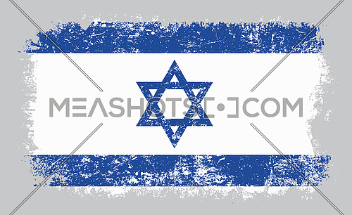 Vector illustration of grunge old distressed flag of Israel isolated on grey background