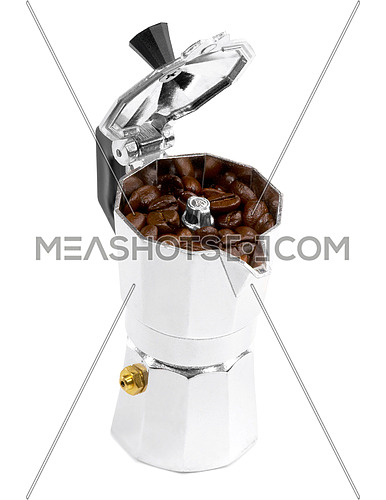 coffee beans and mocha machine on white background