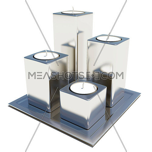 Four silver or stainless steel round and white wax candle holders, isolated against a white background, on a square platter.