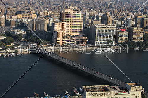 fixed shot for traffic on 6 Kasr El nil bridge in cairo at day