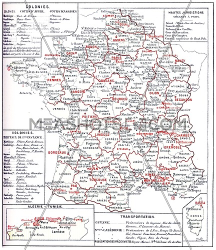 France judiciary map, vintage engraved illustration. Dictionary of words and things - Larive and Fleury - 1895.