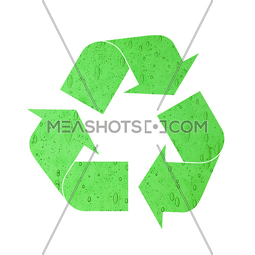 Illustration of recycling symbol of green glass with air bubbles isolated on white background