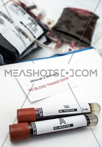 Diagnosis form witnesses of jehova, concept of denial of blood transfusions, conceptual image, vertical composition