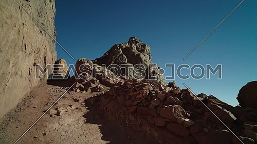 Track in for the climbing road to peak of Sinai Mountain