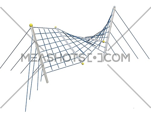 Play and climbing and crawling net, blue, 3D illustration, isolated against a white background.