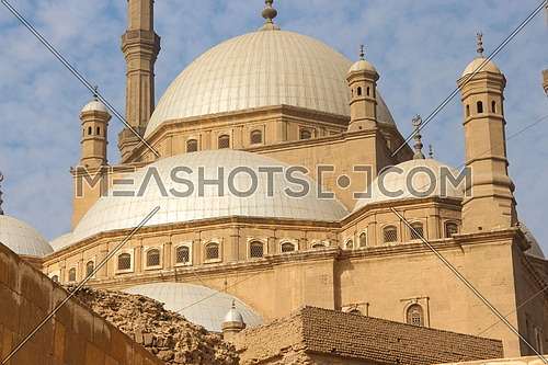 a photo for Mohamed Ali mosque from inside Sultan Salah el Din Castle in old Cairo , Egypt