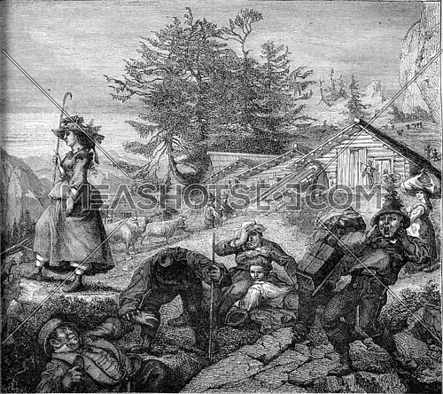 On the mountain, vintage engraved illustration. Magasin Pittoresque 1870.