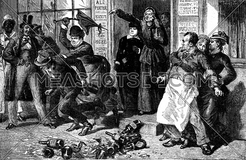 Crusade against the intemperance of women in the United States. They seized the man by the collar and rushed into the street, vintage engraved illustration. Journal des Voyage, Travel Journal, (1879-80).