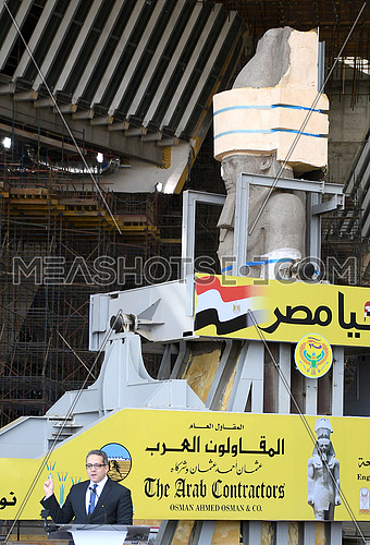Long Shot for Mr.Khaled Al-Anani The Egyptian Minister of Antiquities  having a speech in front of The Statue of King Ramses II while the transferring process to the Grand Egyptian Museum in Cairo on 25 January 2018