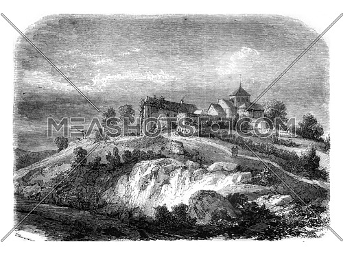 Abbey ruins of Chalard, department of Haute Vienne, vintage engraved illustration. Magasin Pittoresque 1845.