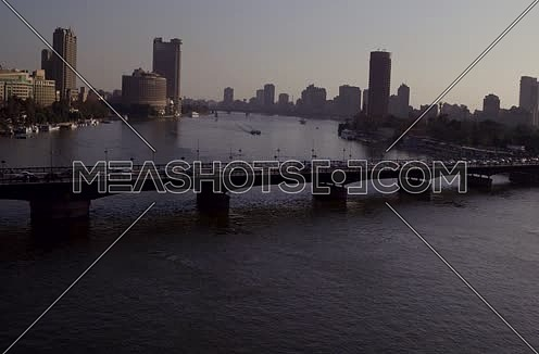 Aerial Shot for the River Nile and Kasr Al Nile Brdige  at Cairo at sunset