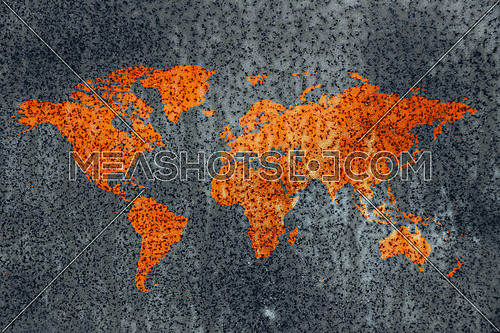 World decay, world map corrosion stained rusty metal surface out of cold neutral grey background