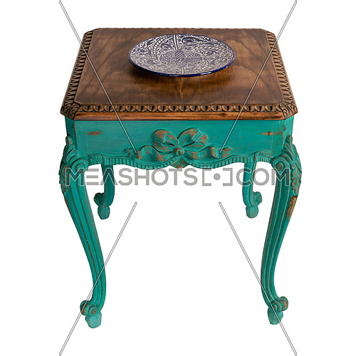 Vintage Furniture - Retro wooden vintage table with green painted legs isolated on white background including clipping path
