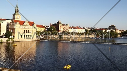 High angle panoramic view of Prague old town over Vltava river sunny day in Czech Republic