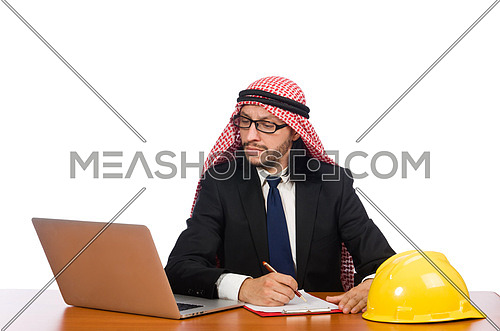 Arab man with computer and hardhat