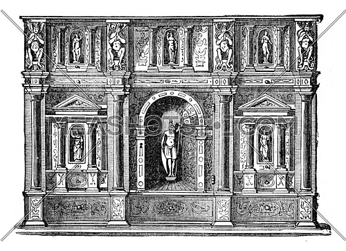 Office of the sixteenth century, Italian employment, vintage engraved illustration. Industrial encyclopedia E.-O. Lami - 1875.