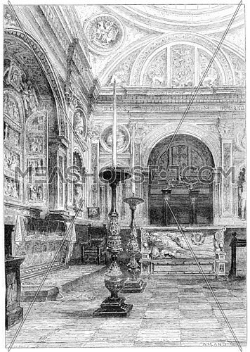 Tomb of Queen Anne Jagiellonian in the Cathedral of Krakow, vintage engraved illustration. Magasin Pittoresque 1867.